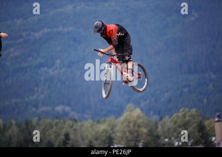 Whistler, BC, Canada. August 11, 2018. DJ Brandt (USA)  performs an aerial at the 2018 Clif Dual Speed and Style presented by Muc-Off race at the Crankworx Whistler mountain bike festival. Credit: Ironstring/Alamy Live News - Stock Photo