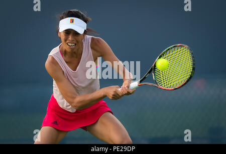 Cincinnati, USA. August 11, 2018 - Su-Wei Hsieh of Taipeh in action during qualifications at the 2018 Western & Southern Open WTA Premier 5 tennis tournament. Cincinnati, USA, August 11, 2018 Credit: AFP7/ZUMA Wire/Alamy Live News - Stock Photo