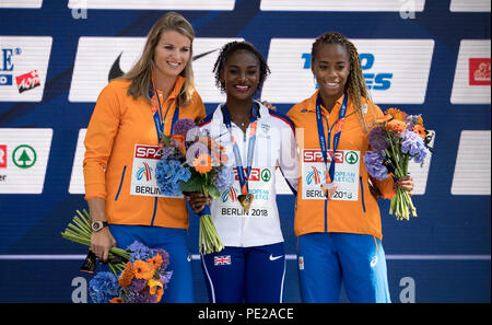 Berlin, Germany. 12th Aug, 2018. Track and Field, European Championship, Award Ceremony on the European Mile at Breitscheidplatz, 200m, Women: Silver medallist Dafne Schippers (l-r) from the Netherlands, gold medallist Dina Asher-Smith from Great Britain and bronze medallist Jamile Samuel from the Netherlands. Credit: Sven Hoppe/dpa/Alamy Live News - Stock Photo