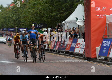 Scotland, UK. 12th August 2018. WINNER - Matteo Trentin winning the gold medal, Elite Men's Road Race, UEC European Championships, Glasgow. Credit: Colin Fisher/Alamy Live News - Stock Photo