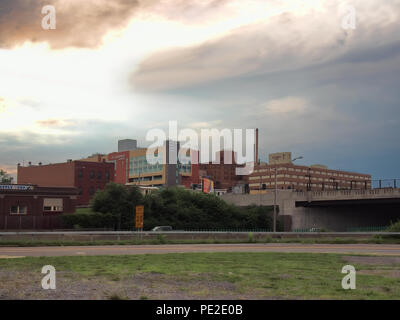 Syracuse, New York, USA. August 11, 2018. View of Syracuse's Northside neighborhood and St. Joseph's hospital complex from near Interstate 81 - Stock Photo