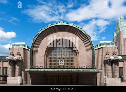 Art Nouveau architecture of Helsinki Central Railway Station, Helsinki, Finland - Stock Photo