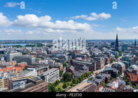 View over the city towards Binnenaslter and the Rathaus from the tower of St Michael's Church (Hauptkirche Sankt Michaelis), Hamburg, Germany - Stock Photo