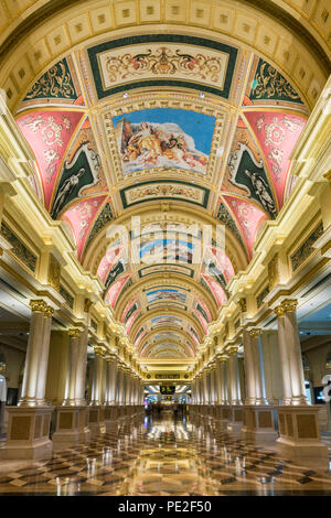 The intricate patterns on the ceiling of the Venetian Casino and Resort Hotel Macau, China. - Stock Photo