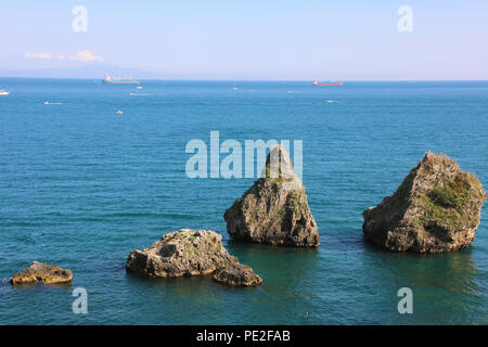 The Two Brothers, large rock formations, Vietri sul Mare, Amalfi Coast, Italy - Stock Photo