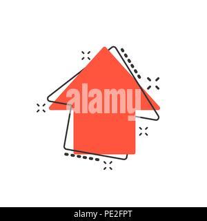 Vector cartoon arrow up icon in comic style. Forward arrow sign illustration pictogram. Cursor business splash effect concept. - Stock Photo