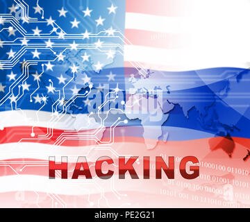 Russia Hacking American Elections Data 2d Illustration Shows Kremlin Spy Hackers On Internet Attack Usa Election Security Or Cybersecurity - Stock Photo