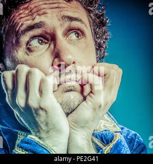 Blue prince, coronation concept, funny fantasy picture - Stock Photo