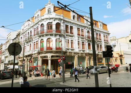 PORTO, PORTUGAL - JUNE 20, 2018: beautiful old traditional architecture building in Santa Catarina, downtown Porto, Portugal - Stock Photo