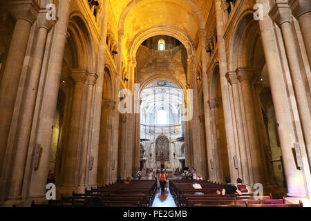 LISBON, PORTUGAL - JUNE 25, 2018: Inside the Cathedral Santa Maria Maior de Lisboa (also known as Se de Lisboa), Portugal - Stock Photo
