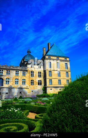 The architecture and grounds of the majestic Chateau de Hautefort in Hautefort, Dordogne, France - Stock Photo