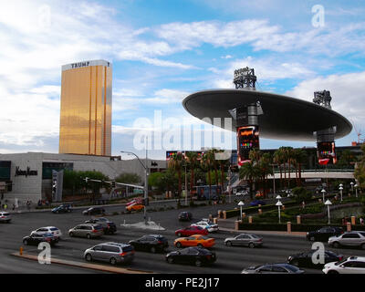 LAS VEGAS, NV - JULY 21, 2018: Fashion Show Mall and Trump International Hotel Las Vegas on the The Strip in Las Vegas, Nevada on a busy evening. - Stock Photo
