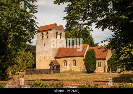 St Bartholomew Church in the chilterns village of Fingest Buckinghamshire England UK setting for many Midsomer Murders - Stock Photo