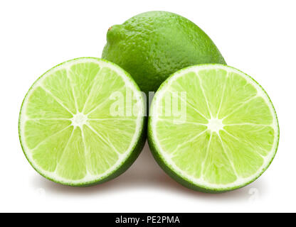 sliced lime path isolated - Stock Photo