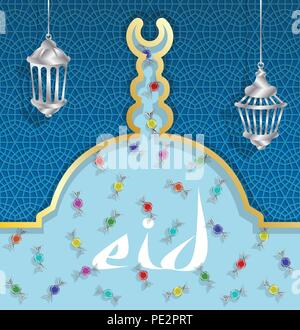 Eid greeting card with bonbons and lanterns on mosque dome. All the objects are in different layers and the text types do not need any font. - Stock Photo