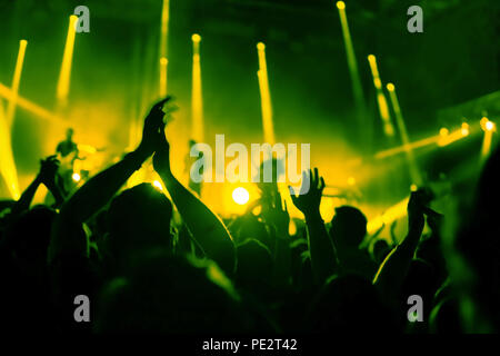 applause, crowd of people applauding to musicians at music festival, silhouettes of clapping hands at concert show - Stock Photo