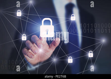 internet network security concept, business man touching lock on virtual screen, protection against cyberattack - Stock Photo