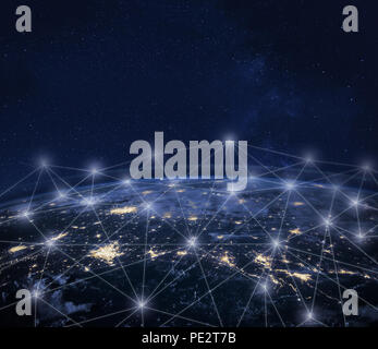 Network communication around Earth seen from space, global worldwide connection concept, international business technology, telecommunication, finance - Stock Photo