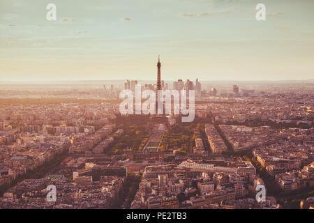 Paris aerial view with Eiffel Tower, famous landmark in Europe, romantic travel destination - Stock Photo
