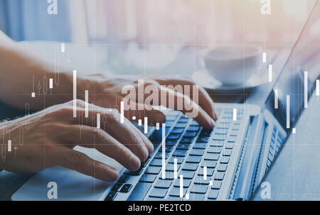 fintech and financial business analytics concept, candlestick chart about finance and trading quotations, KPI statistics - Stock Photo