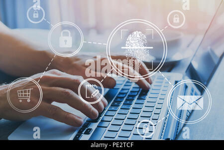 fingerprint authorization access concept, personal data information security - Stock Photo