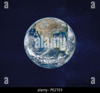 view of planet Earth from space, original image furnished by NASA - Stock Photo