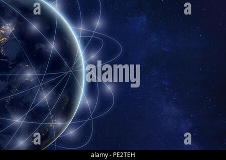 global communication technology and telecommunication background concept, blockchain financial network around planet Earth, IOT, part of image  furnis - Stock Photo