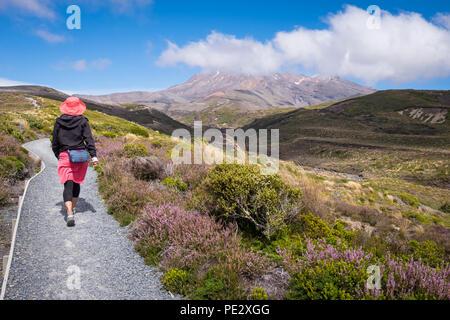 A woman walking towards Mt Ruapehu in the Tongariro National Park - Stock Photo