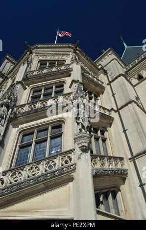 Façade and architectural details of the main house of the Biltmore Estate outside of Asheville, North Carolina, USA - Stock Photo