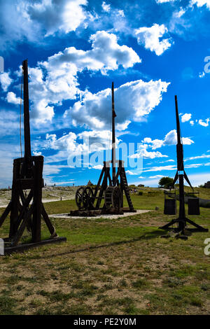 Trebuchets waiting for action in the ruins of the fortress of Les-Baux-de-Provence, France - Stock Photo