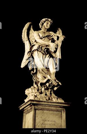 One of Bernini's baroque angel sculpture on Ponte Sant' Angelo bridge at night in Rome, Italy - Stock Photo