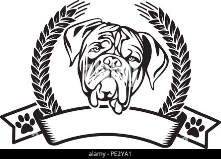 Dogue de Bordeaux Breed Pet Puppy Isolated Head Face - Stock Photo
