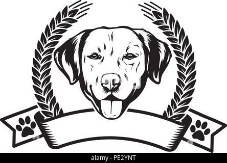 Labrador Retriever Dog Breed Pet Puppy Isolated Head Face - Stock Photo