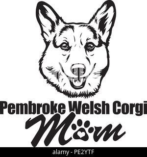 Pembroke Welsh Corgi Dog Dog Breed Pet Puppy Isolated Head Face - Stock Photo