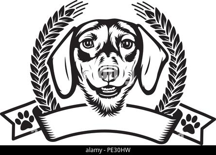 Dachshund Dog Breed Pet Puppy Isolated Head Face Stock Vector Art