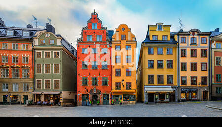 Stockholm, Sweden - October 26, 2017: Ornate houses on the famous Stortorget square in the heart of Old Town Gamla Stan - Stock Photo