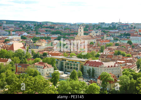 Panoramic view of Vilnius old town from Three Crosses viewpoint, Lithuania - Stock Photo