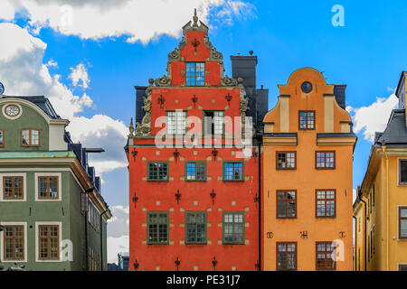 Ornate houses on the famous Stortorget square in the heart of Old Town Gamla Stan in Stockholm, Sweden - Stock Photo
