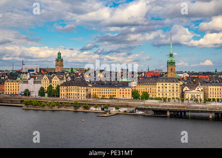 Traditional gothic buildings in the old town, Gamla Stan in Stockholm, Sweden - Stock Photo