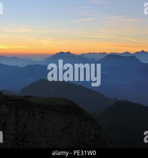 Sunrise in the Bernese Oberland. View from Mount niederhorn. - Stock Photo