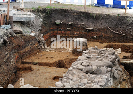 excavation of roman ruins in public archaeological park in Kempten, Germany - Stock Photo