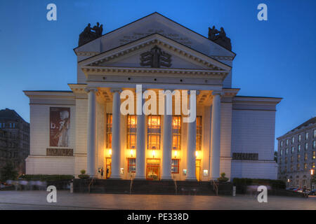 German Opera on the Rhine / Theater of the City of Duisburg at the König-Heinrich-Platz at dusk, Duisburg, Ruhr Area, North Rhine-Westphalia, Germany, - Stock Photo