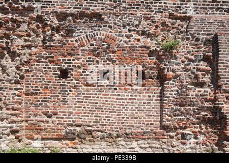 Historic city wall, , Duisburg, Ruhr area, North Rhine-Westphalia, Germany, Europe  I Historische Stadtmauer,  Duisburg, Ruhrgebiet, Nordrhein-Westfal - Stock Photo