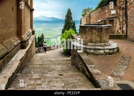 TUSCANY-MAY 30: Beautiful landmark of Pienza,Orcia valley,Italy,on May 30,2018. - Stock Photo