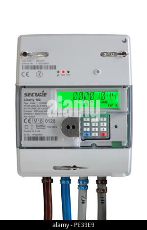 Electricity smart meter isolated on a white background - Stock Photo