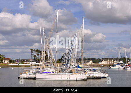Port of Perros-Guirec, a commune in the Côtes-d'Armor department in Brittany in northwestern France - Stock Photo