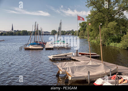 landing stage 'Bodos Bootssteg' at the outer alster lake in Hamburg - Stock Photo