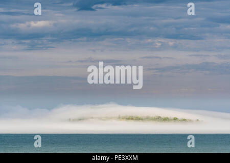 Fog, Pete's island, Grand Portage Bay, Summer, Grand Portage Indian Reservation, Cook Co, MN, USA, by Dominique Braud/Dembinsky Photo Assoc - Stock Photo