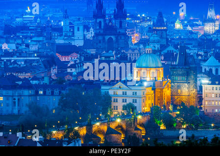Prague cityscape, aerial city view at night of buildings in the historical Old Town area - the Stare Mesto - of east Prague, Czech Republic. - Stock Photo