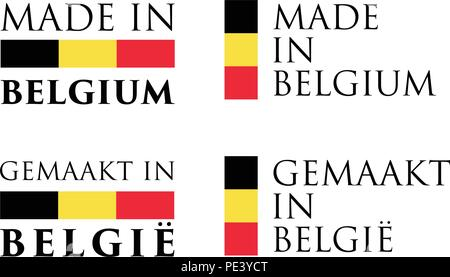 Simple Made in Belgium / Gemaakt in Belgie (dutch translation) label. Text with flag colors arranged horizontal and vertical. - Stock Photo